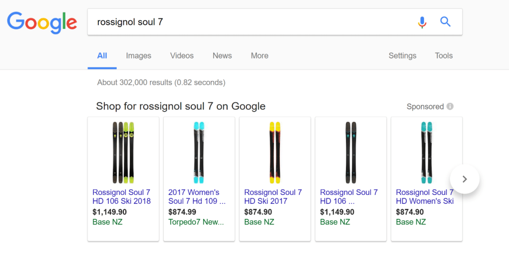 Google Shopping Products example