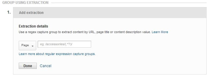 Google Analytics extraction content grouping